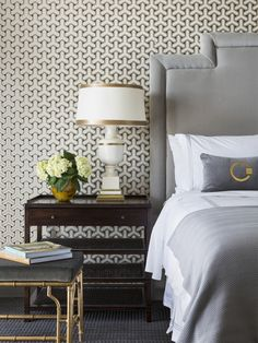 grey patterned walls in a bedroom