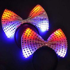 Orejas de luz LED Hasta lentejuelas bowknot mouse diadema favores de partido del traje(China (Mainland))