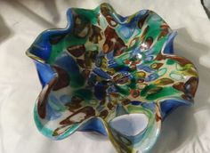 Vintage incredible multi colored Murano Italian art glass bowl by 5of6sisters on Etsy