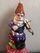 Woodland Gnome Christmas Tree Vintage Inspired Glass Ornament Playing Violin