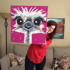Ostrich Painting custom colorful fun animal art by HippieHoundUSA