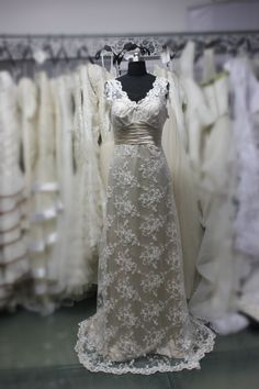 Custom Made Ivory Lace Champagne Lining Vneck  by DidoCouture, $229.00
