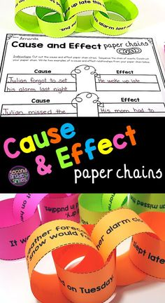 """Cause and effect paper chains are a fun, visual way for students to practice sequencing events and identifying cause and effect relationships. My 2nd grade students loved these activities! A great, hands-on follow-up activity to the """"If You Give a Mouse a Cookie"""" book! #causeandeffect #handsonlearning #ela"""