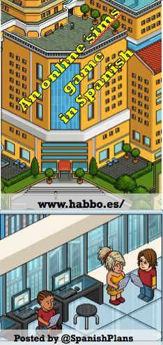 Habbo, an online sims game in Spanish. Habbo es una comunidad virtual dirigida a jovenes a partir de 14 años, aquí puedes crearte un personaje y diseñar tus propias salas. Pero tambien hay otras muchas cosas que puedes hacer......conocer nuevos amigos, chatear, organizar fiestas, cuidar y entrenar mascotas virtuales, realizar retos, crear y participar en multiples juegos