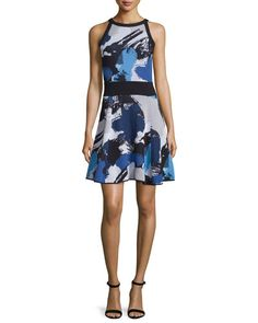 MILLY Milly Pop Art Sleeveless Fit-&-Flare Dress, Blue/Multi. #milly #cloth #