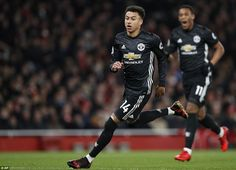 Lingard starts to celebrate after seeing his shot beat Arsenal goalkeeper Cech and nestle in the net for the second