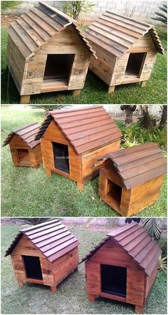Designing the pallet dog houses with the recycled wood pallet use in it has always stood out an amazing option because it is durable as well as cheap in cost. These dog houses are completed with the artistic arrangement of useless wooden pallet planks. #pallets #woodpallet #palletfurniture #palletproject #palletideas #recycle #recycledpallet #reclaimed #repurposed #reused #restore #upcycle #diy #palletart #pallet #recycling #upcycling #refurnish #recycled #woodwork #woodworking