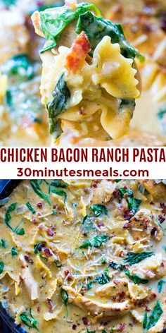 Chicken Bacon Ranch Pasta is a rich and creamy one-pan dish ready in about 30 minutes. #30minutesmeals #pasta #chicken #bacon #chickenbaconranchpasta #easyrecipe Yummy Pasta Recipes, Easy Dinner Recipes, Chicken Recipes, Easy Meals, Weeknight Meals, Easy Recipes, Breakfast Recipes, Vegan Recipes, Pot Pasta