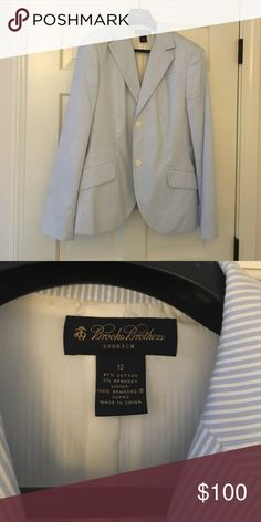 Brooks brothers blue and white seersucker blazer Classic & timeless blue and white seersucker blazer NWOT never worn Brooks Brothers Jackets & Coats Blazers