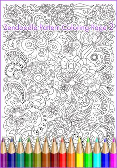 Adult Coloring Page Doodle Flowers Zentangle Inspired Printable Art Original PDF