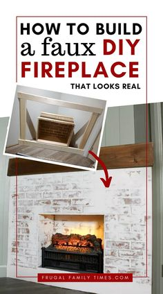 This fireplace looks so real - yet it was so simple to build! Here's how to build a faux fireplace in a corner (with German schmear brick). Also we built a faux reclaimed wood mantle. A corner fireplace can look great and here's how. #howto #diy #fauxfireplace #electricfireplace #basement #cornerfireplace