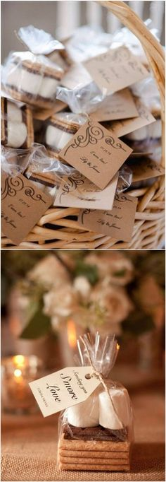 rustic wedding smore favor ideas #rusticwedings #weddings #weddingideas #weddingfavors