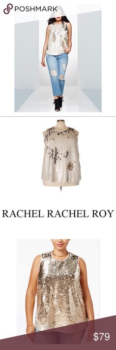"JUST IN - RACHEL Rachel Roy Sequin Swing Top This top is from the RACHEL Rachel Roy Curvy line.  It is very glamorous while still being forgiving enough that you dance in it all night comfortably. 😀  The top is made of all over sequins in flat & shiny ivory & gold.  The top is a swing design with a raw edge trim at the scoop neck & around the arms.  The top is completely lined & designed to hit at the hips.  Measured flat: pit to pit 26.5""; shoulder to hem 28"".  Last 4 pics are the top for…"