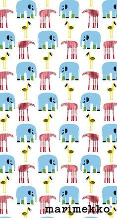 マリメッコ/ゾウシマウマ鳥 iPhone壁紙 Wallpaper Backgrounds iPhone6/6S and Plus  Marimekko iPhone Wallpaper
