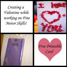 Creating a Valentine While working on Fine Motor Skills