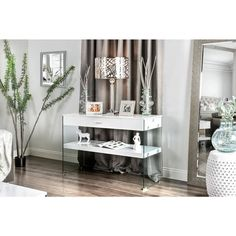 Furniture of America Leden Contemporary Glass Panel Single Drawer Sofa Table | Overstock.com Shopping - The Best Deals on Coffee, Sofa & End Tables