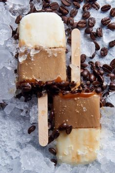 "Iced Caramel Latte Pops | ""A delicious treat. I used Gevalia vanilla cold brew. I didn't take the time to freeze each layer separately."" #dessertrecipes #dessertideas #frozendesserts #icebox #iceboxdessert #nobakedessert Ice Cream Toppings, Ice Cream Desserts, Frozen Desserts, Ice Cream Recipes, Frozen Treats, Sorbet, Yummy Treats, Delicious Desserts, Dessert Recipes"