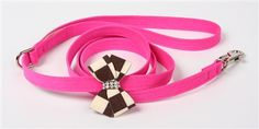 Susan Lanci Windsor Check Nouveau Bow Leash for Designer Dog