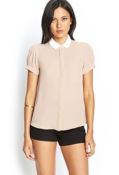 Contrast Peter Pan Collar Blouse | FOREVER21 - 2000059026 not sure about the color