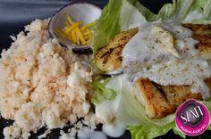 Sült hal salátaágyon karfiolrizzsel és citromos kókusz mártással (paleo vacsora recept) ~ Éhezésmentes Karcsúság Szafival Low Carb Recipes, Cukor, Dinners, Foods, Diet, Rezepte, Healthy, Dinner Parties, Food Food