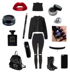 """""""A dark girl"""" by marthina2000 on Polyvore featuring moda, Chanel, Comme des Garçons, Forever 21, Topshop, PARENTESI, Casetify, rag & bone, Victorinox Swiss Army y Givenchy"""
