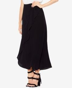 Vince Camuto Textured Faux-Wrap Ruffled Long Skirt - Black 10