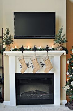 Christmas Mantel With TV Over The Fireplace, Mantel Decorating Ideas For TV  Over The Fireplace
