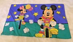 DISNEY Mickey Mouse Minnie Mouse Pillowcase Bikes Balloons Back and Front USA #Disney