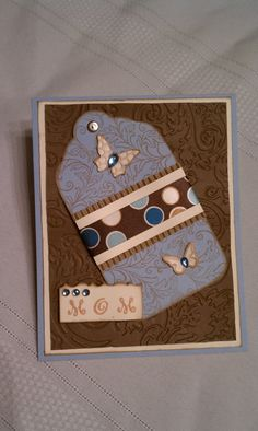 Happy Mothers Day Card Blue and Brown Butterflies Tag by Kimholmes, $4.50