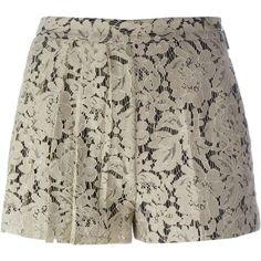 MSGM Pleated Lace Shorts ($128) ❤ liked on Polyvore featuring shorts, short, lacy shorts, msgm, pleated shorts, short shorts and khaki shorts