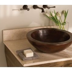 Native Trails Laguna Hand Hammered Copper Bathroom Sink on light counter top Copper Vessel Sinks, Copper Bathroom, Wall Mounted Bathroom Sinks, Vessel Sink Bathroom, Wall Faucet, Basin Sink, Hammered Copper, Antique Copper, Vanity Tops With Sink