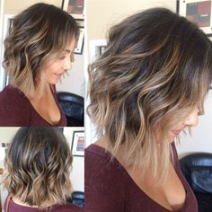 Balayage highlights with medium bob haircut