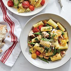 Summer Vegetable Rigatoni with Chicken | MyRecipes.com -  Amount per serving      Calories: 428     Fat: 13.7g     Saturated fat: 2.5g     Monounsaturated fat: 7.3g     Polyunsaturated fat: 1.7g     Protein: 28g     Carbohydrate: 47g     Fiber: 3g     Cholesterol: 56mg     Iron: 3mg     Sodium: 370mg     Calcium: 69mg