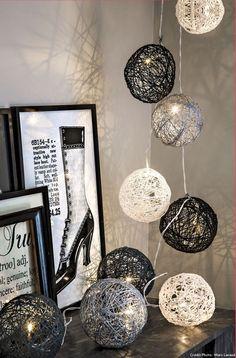 Boule de Noël ficelle en guirlande électrique