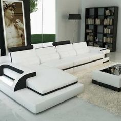 White Leather Sofa Sectionals Contemporary #LeatherSectionalSofas