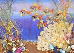 Embroidery Fish Crazy Quilting Ideas For 2019 Crazy Quilt Stitches, Crazy Quilt Blocks, Patch Quilt, Crazy Quilting, Applique Quilts, Quilting Templates, Quilt Patterns, Ribbon Embroidery, Embroidery Stitches