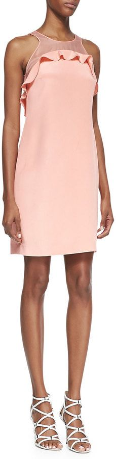 $495, Pink Silk Shift Dress: Rebecca Taylor Sleeveless Ruffle Bodice Shift Dress Pink. Sold by Neiman Marcus. Click for more info: https://lookastic.com/women/shop_items/104711/redirect