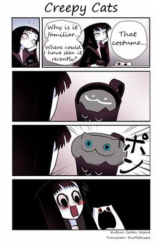 Flora just moved to an old house, but there's already a creepy cat living there. Kawaii Chibi, Kawaii Anime, Funny Cartoons, Funny Comics, Funny Friend Captions, Happy Birthday Funny Humorous, 4 Panel Life, Creepy Cat, Creepypasta Cute