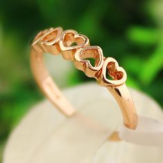 fashion hollow heart golden ring ,Supply all kinds of cheap fashion jewelry ,shop at www.costwe.com