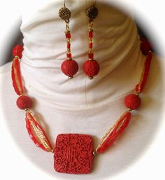Cinnabar Necklace Matching Earrings Red Gold and by bjswearableart, $40.00