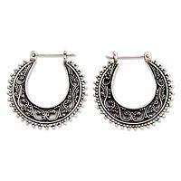 Sterling silver hoop earrings, 'Kuta Moon' by NOVICA
