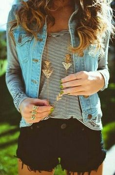 Strip top and denim vest