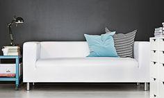 KLIPPAN two-seat sofa in white artificial leather