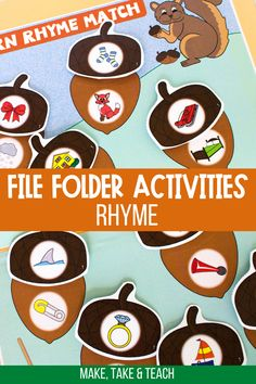 Your students will love learning the skill of rhyme with these rhyme fall themed activities. Student match the rhyme on the acorn top to the rhyme on the acorn bottom. Great activity for teaching rhyme during small group instruction!
