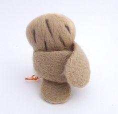 Barn Owl in Soft Beige Needle Felt Bird by feltmeupdesigns on Etsy