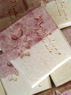** NOT a Wild Berry Soap item ** Strawberry marseille soap (like the coloring and stamp effect) Soap Making Recipes, Soap Recipes, Savon Soap, Soap Stars, Soap Bubbles, Soap Packaging, Cold Process Soap, Soap Molds, Perfume