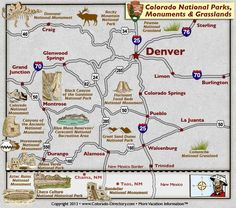 Colorado National Parks, Landmarks, Monuments, Map, CO, Colorado Vacation Directory