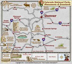 Colorado National Parks, Landmarks, Monuments, Map, CO, Colorado Vacation Directory