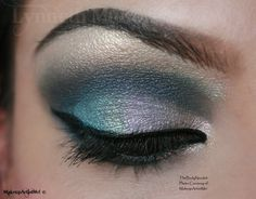 """""""Silver Lining"""", by MakeupArtistMe! I used: Iced Teal, Iced Red, Iced Citrus, Iced Gold, Breathless and Gunmetal Gray pigments."""