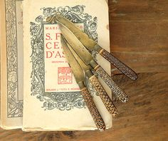 Antique German set of four  Fruit Knives  by millyscollection